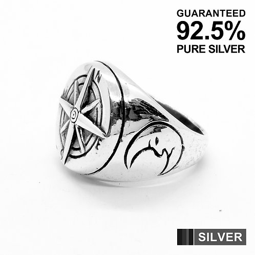925 Sterling Silver Compass with Moon Ring / Quality / Solid