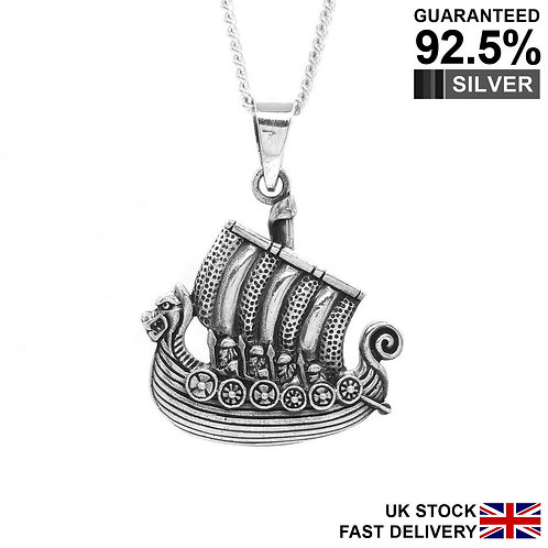 925 Sterling Silver Dragon Figurehead Viking Long Boat Ship Pendant Necklace