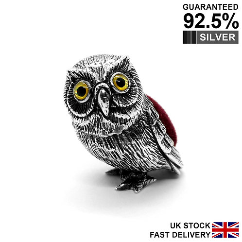 925 Silver Miniature Owl Animal Figurine Pin Cushion / Solid / Quality Gift