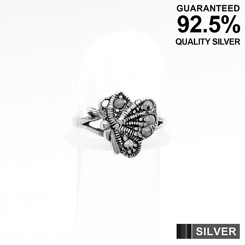 925 Sterling Silver Butterfly with Marcasite Stone Toe Ring / Midi Ring