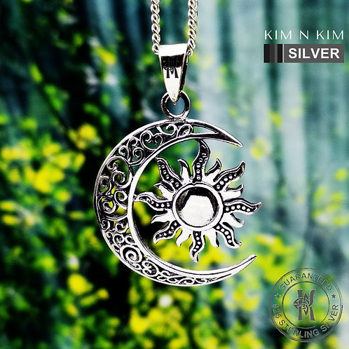 Celtic Sun and Moon Pendant Necklace /Crescent Moon / Solid 925 Silver / Quality
