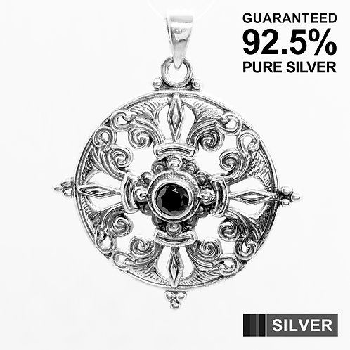 925 Sterling Silver Traditional Mandala with Black CZ Pendant / Solid /Quality
