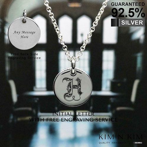 925 Silver Engravable Alphabet Initial Disc Pendant Necklace(PT) / Solid/Quality