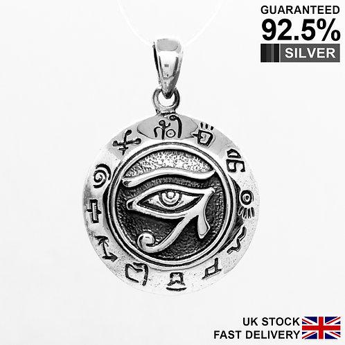 925 Silver Egyptian Eye of Horus God Ra Rah Udjat Pendant / Quality / Solid