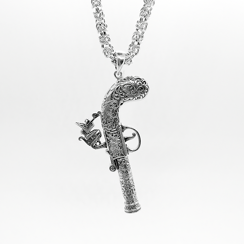 Solid Classic duelling pistol Whistle Pendant / 925 Sterling Silver, Blackened