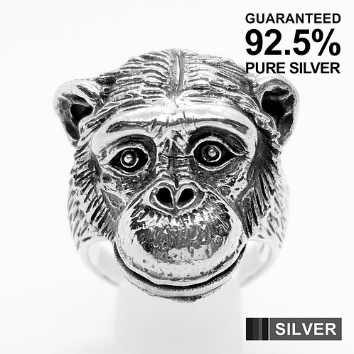 925 Sterling Silver Gorilla's Head Ring / Quality / Solid