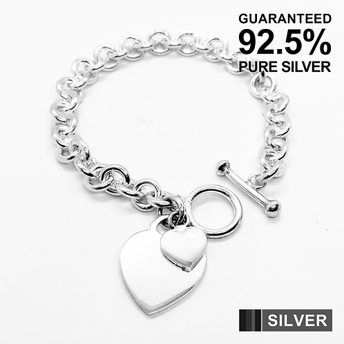925 Sterling Silver Heavy Double Heart Tag T-Bar Bracelet /Quality /Solid