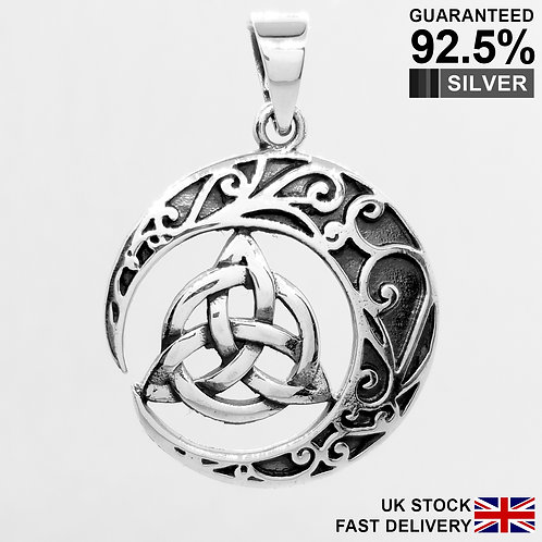 925 Silver Celtic Neo Pagan Triquetra Trinity Knot Moon Pendant / Quality