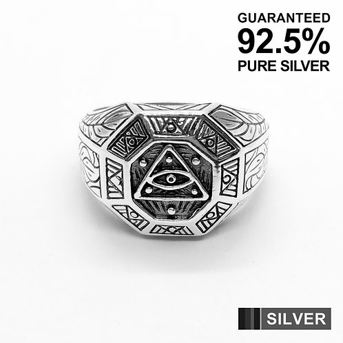 925 Sterling Silver Eye of Providence All Seeing Eye of God Pyramid Ring/Quality
