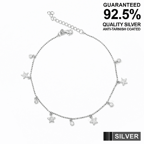 925 Silver Anklet with CZ Stars & round CZ solitaires / Quality / Anti-Tarnished