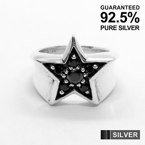 925 Sterling Silver Lucky Star With Black CZ Signet Ring / Quality