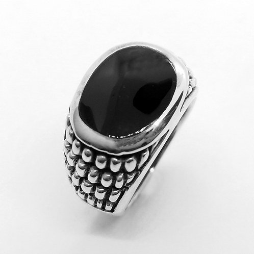 Onyx Bubble Pattern Ring / 925 Sterling Silver, Blackened, Solid