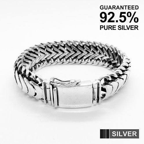 925 Sterling Silver Vintage Monet Centipede Statement ID Bracelet / Quality