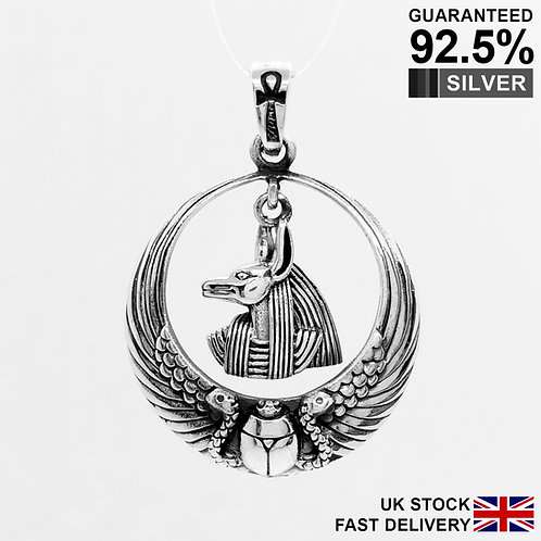 925 Silver Egyptian Anubis with Ankh Cross Scarab Beetle Snake Wing Pendant