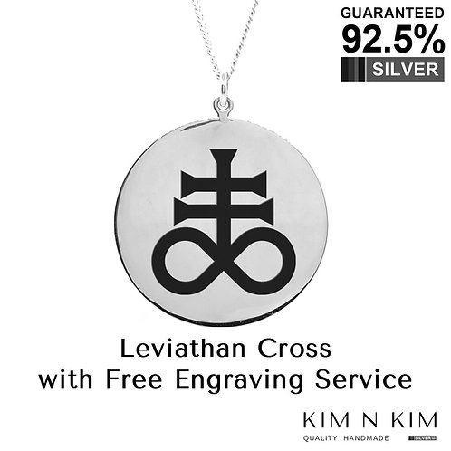 925 Sterling Silver Leviathan Cross Satans Cross Sulfur Occult Pendant Necklace