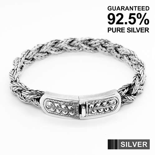 925 Sterling Silver Heavy Classic Chain Braided Bracelet /Solid /Oxidised