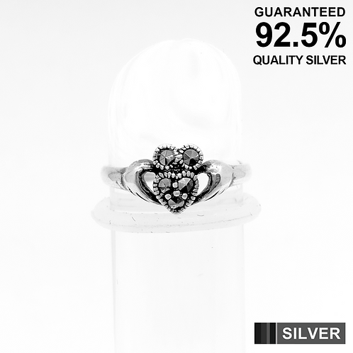 925 Sterling Silver Claddagh Heart with Marcasite Stone Toe Ring / Midi Ring