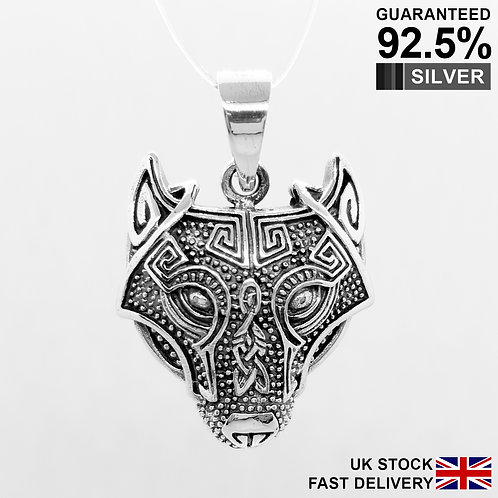 925 Sterling Silver WOLF Head Celtic Viking Pendant / Quality / Solid