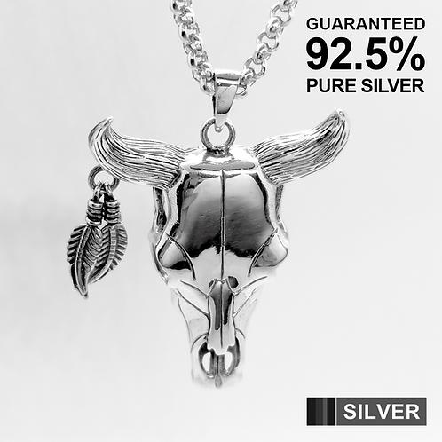 Large Heavy Bull Carcass Skull Pendant / 925 Sterling Silver, Blackened, Solid