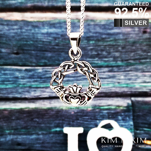 925 Sterling Silver Celtic knot Irish Claddagh Pendant Necklace /Solid /Quality