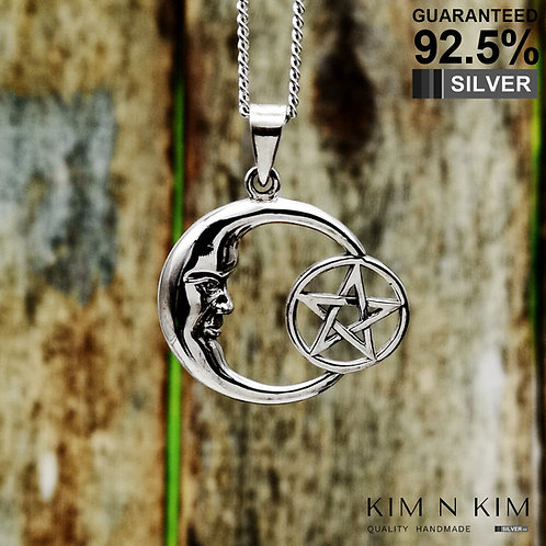 925 Silver Crescent Moon and Star Wicca Wisdom Pendant Necklace /Solid /Quality