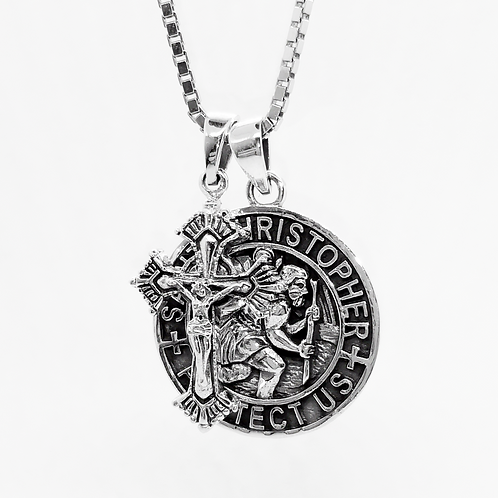 Saint Christopher & Crucifix Pendants / Blackened, Solid