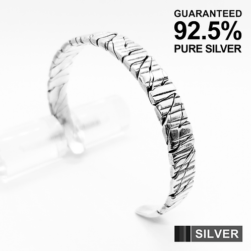 925 Sterling Silver Squeezed Wire Open Cuff Bangle /Solid /Oxidised