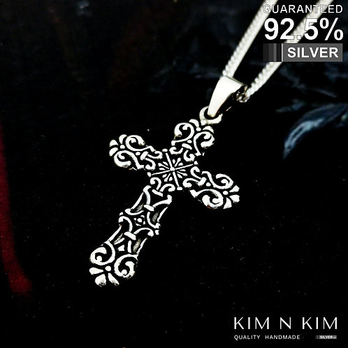 925 Sterling Silver Fleury Fancy Vintage Cross Crucifix Pendant Necklace/Quality