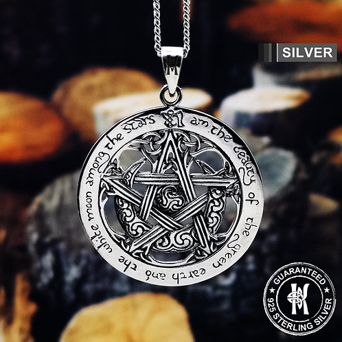 Pentagram Pentacle Wicca Pagan with The Charge of The Goddess Pendant Necklace