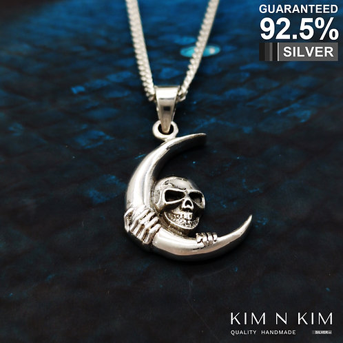 925 Sterling Silver Skull and Moon Pendant Necklace / Gothic / Solid / Quality
