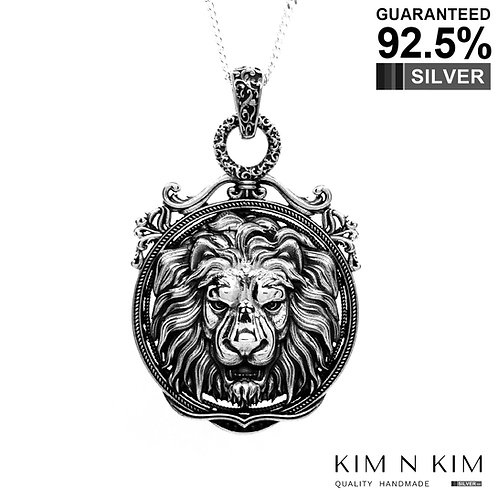 925 Sterling Silver Large Lion Head Medallion Pendant / Solid / Exquisite Detail