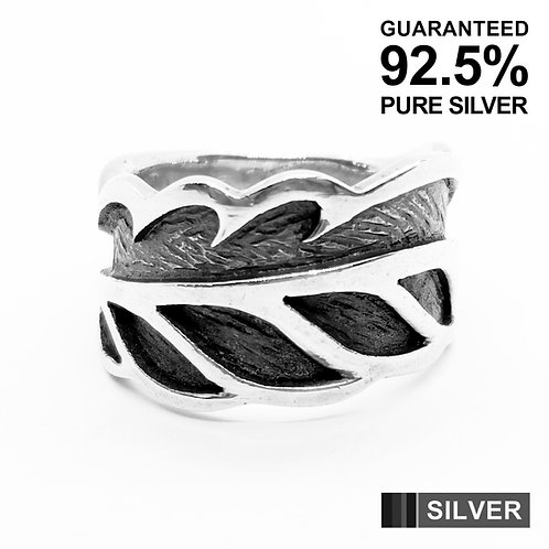 925 Sterling Silver Leaf Band Ring / Solid / Oxidised