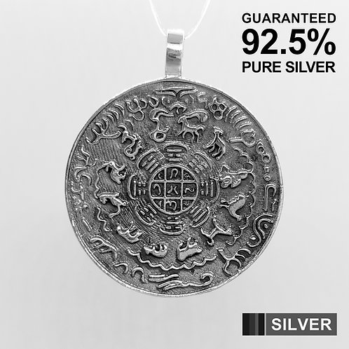 925 Sterling Silver Chinese Zodiac Astrology Double Sided Amulet pendant / Solid