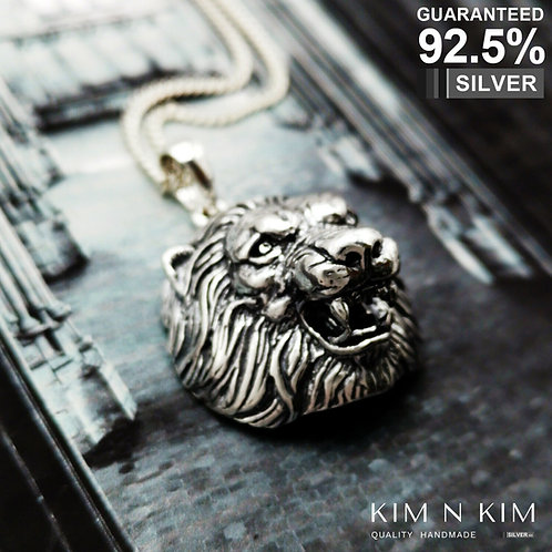 925 Sterling Silver 3D Lion Head Pendant Necklace / Solid / Quality
