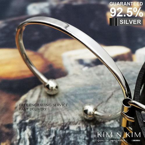 ID Torque Bangle Bracelet / Men's / Women's / Quality / Solid 925 Silver