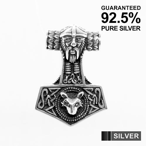 925 Sterling Silver Wolf Thor's Hammer Mjolnir Odin Norse Pendant / Solid