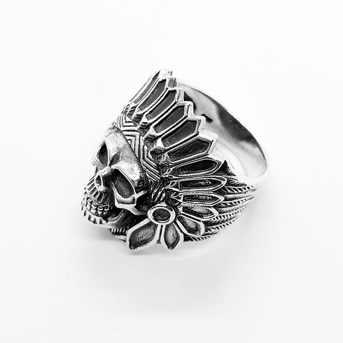 Indian Skull Head Ring / 925 Sterling Silver, Blackened, Solid