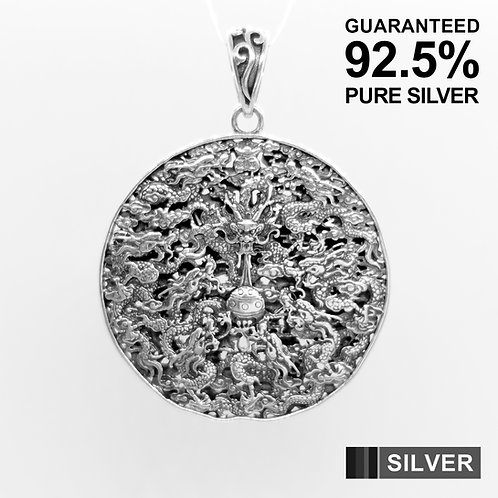925 Sterling Silver Large Dragon Detail Double Sided Amulet Medallion Pendant