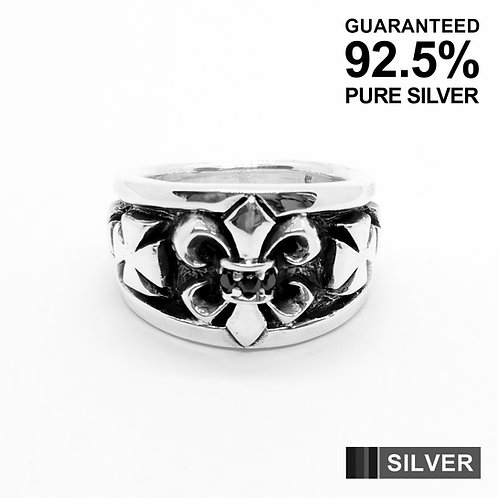 925 Sterling Silver Fleur De Lys & Cross with Black CZ Ring / Quality / Solid