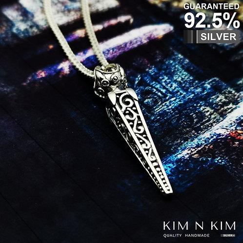 925 Silver Tibetan Silver Viswa Vajra Dorje Pendant Necklace / Solid / Quality