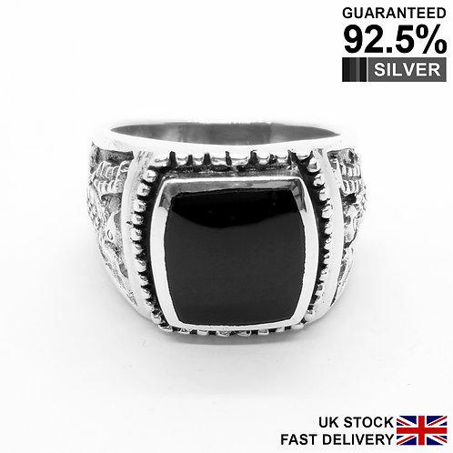 925 Sterling Silver Black Onyx Gem Hawk Eagle Signet Ring / Oxidised / Quality