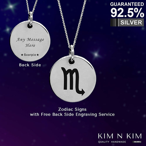 925 Sterling Silver Zodiac Pendant Necklace /Horoscope/Astrology/Free Engraving