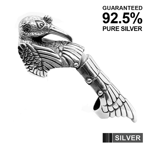 Heavy HAWK HINGED ARMOUR Full Finger Bendable Knuckle Ring / 925 Sterling Silver