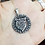 Thumbnail: 925 Sterling Silver Wolf Head in a Rune Circle Celtic Pendant / Solid