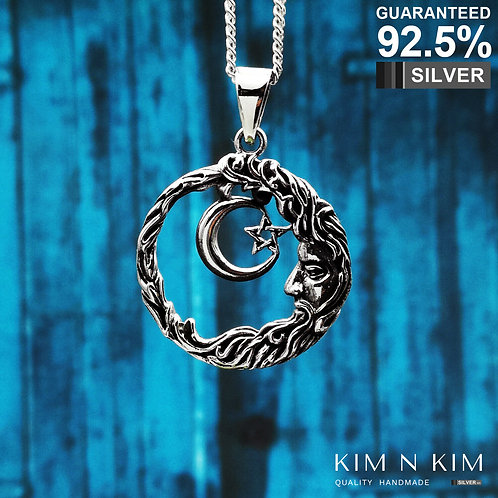 925 Silver Crescent Moon and Star Wicca Wisdom Pendant Necklace /Solid/ Quality