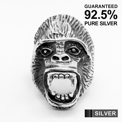 925 Sterling Silver Gorilla's Head Ring / Solid / Oxidised
