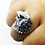 Thumbnail: 925 Sterling Silver Hawk's Head Ring / Solid / Oxidised