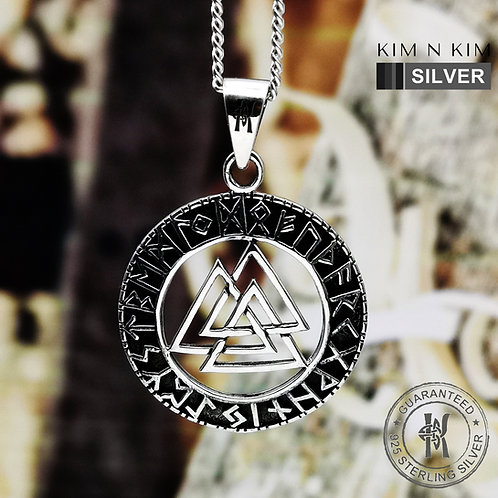 Valknut Pendant Necklace Odin Norse Viking Runes / Solid 925 Silver  / Quality