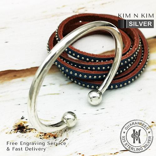 925 Sterling Silver Heavy Torque Bangle Bracelet / Solid inside / Quality