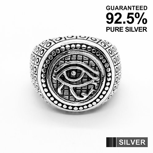 925 Sterling Silver Egyptian Eye of Horus Dot Patterned Ring / Quality / Solid